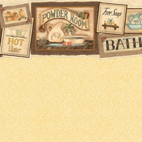 Wallpaper - Bath Signs Yellow - Marble
