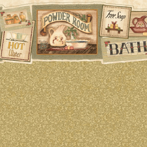 Wallpaper - Bath Signs Green - Marble
