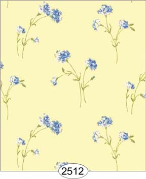 Wallpaper - Carnation - Blue on Yellow