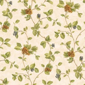 Wallpaper - Woodland Swag Blue Berries - Vine NO BORDER